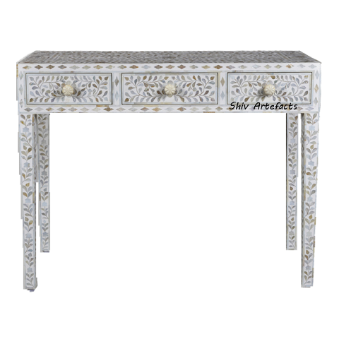 MOTHER OF PEARL INLAY FLORAL DESIGN CONSOLE