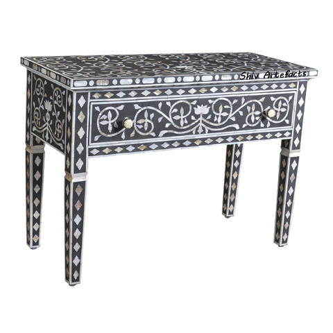 MOTHER OF PEARL INLAY MARBLE FLORAL DESIGN CONSOLE