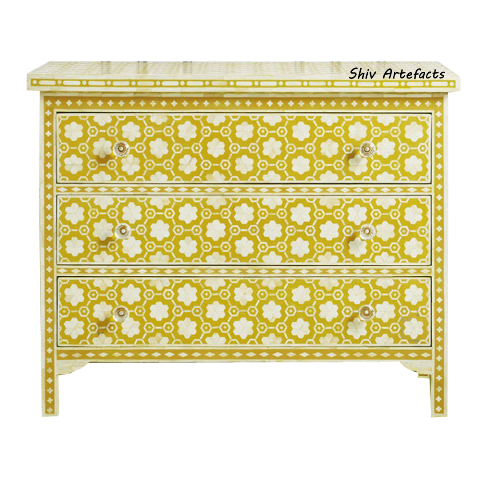 BONE INLAY FLORAL GEOMETRICAL DESIGN CHEST