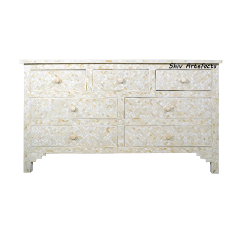 MOTHER OF PEARL INLAY GEOMETRICAL DESIGN CHEST