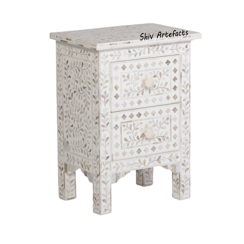 MOTHER OF PEARL INLAY FLORAL DESIGN BEDSIDE
