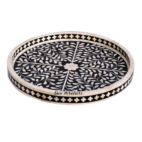 BONE INLAY FLORAL ROUND TRAY