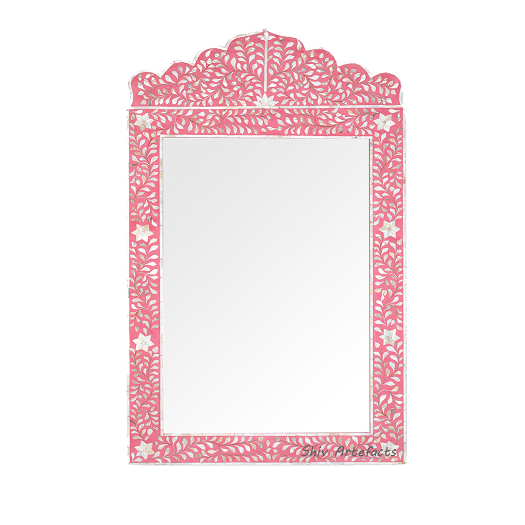 MOTHER OF PEARL INLAY FLORAL DESIGN MIRROR