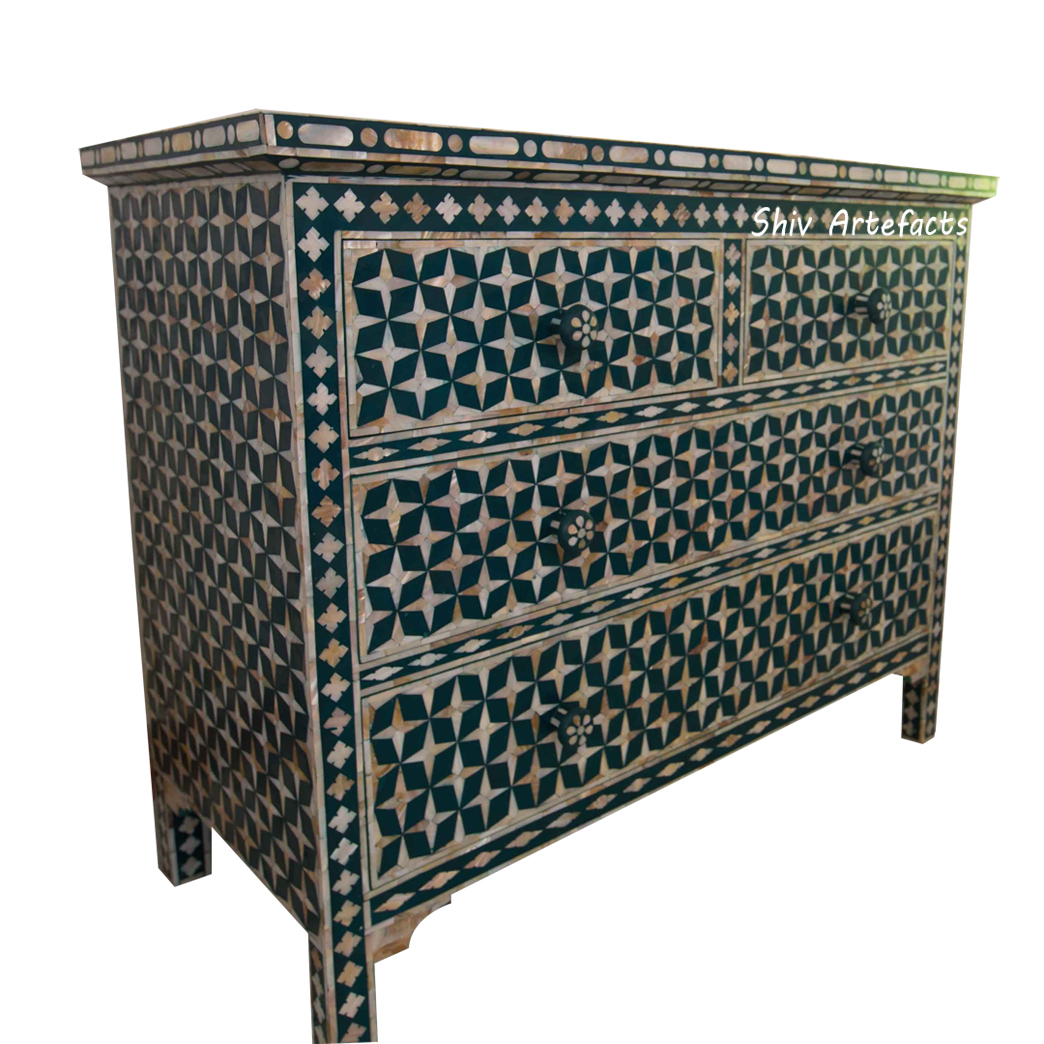 Mop Inlay Star Design Chest Of Drawers