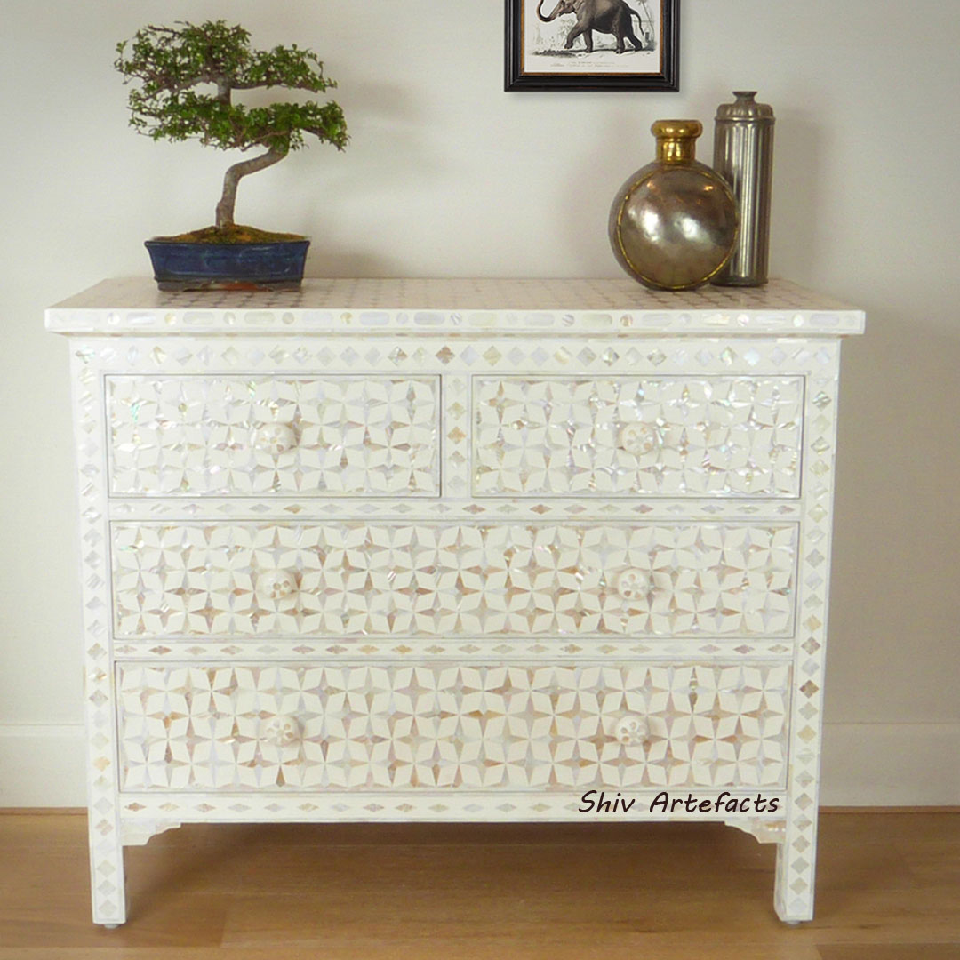 MOTHER OF PEARL TEAL DESIGN CHEST OF DRAWERS