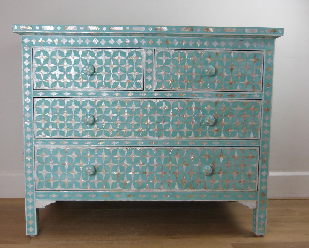 Mother Of Pearl Inlay Teal Design Chest Drawers